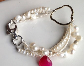 Pearl Bracelet, Freshwater Pearls, Hot Pink Chalcedony, Fuchsia Chalcedony, Triple Strand Bracelet, Sundance Inspired, Etsy, Etsy Jewelry