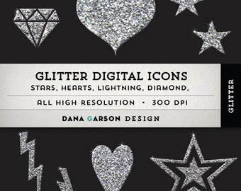 Glitter Digital Icons in Silver: stars, hearts, lightning & diamond. For blog graphics, clip art ClipArt, Instant Download, printable