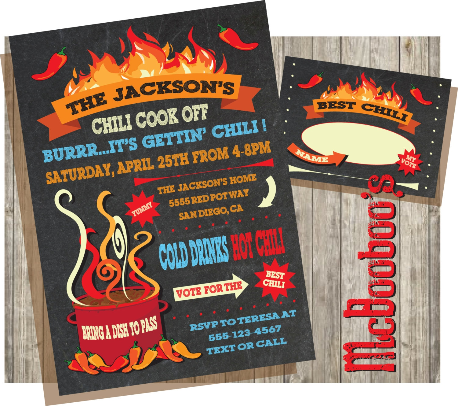 Chili cook off invitations on a chalkboard background zoom xflitez Choice Image