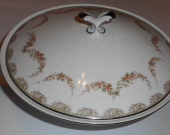 NORITAKE DENISE # 5508 round covered vegetable brown leaf swag orange flower china