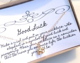 Tiny Gold Elephant Necklace, Gold Charm Necklace, Gold Filled Necklace, Dainty Light Necklace, Small Dainty Necklace, Good Luck Necklace