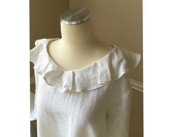 Natural linen white tunic with wavy collar and double ruffle hem, long sleeve, trendy plus size clothing, plus size womens clothing