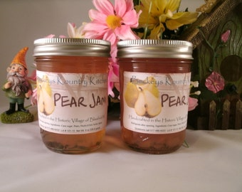 Two Jars Pear Jam Homemade jam jelly handmade fruit preserves fruit spread