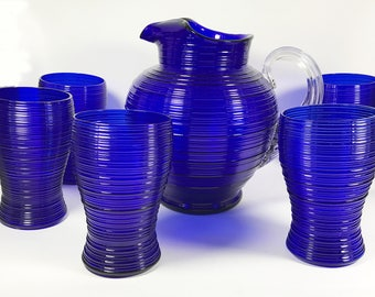 Imperial Spun Cobalt (Ritz) Blue Pitcher and Tumbler 6 Piece Set - Reeded