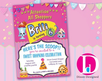 Personalized Shopkins Birthday Invitation 5X7 Printed OR Printable