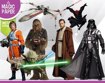 Star Wars Clipart - Digital 300 DPI PNG Images, Photos, Scrapbook, Digital, Cliparts - Instant Download