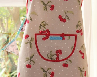 ON SALE   Life's a Bowl of Cherries - Cherry Print Apron.  Womens Full Apron