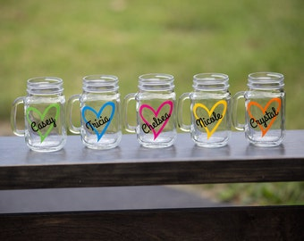 Heart mason jar gift. Personalized, custom mason jar with heart and name. Christmas gift idea, Sorority, Big sister, little sister gift idea