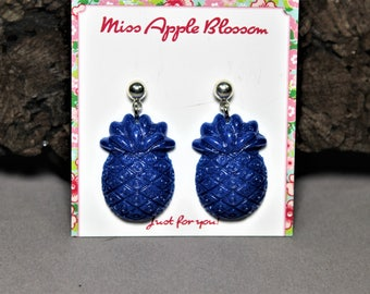 Vintage inspired earrings, pendant earrings semi-transparent dark blue pineapple, epoxy, Luci