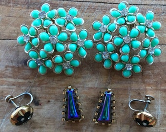 Vintage Earrings / Clip On Earrings / 1950s Jewelry / 1950s Earrings / 3 Pairs / Turquoise Earrings / Rhinestone Earrings / Large Earrings /