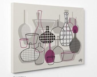 Bottles & Vases   Wall Art Canvas Print - Purple