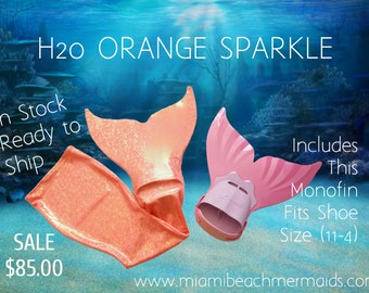 """Swimmable Mermaid Tail """"H20 ORANGE SPARKLE"""" With Monofin"""