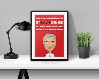 Jose Mourinho Chant Man Utd Illustrated Poster Print | A6 A5 A4 A3