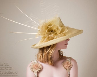 Kentucky Derby Hat - Champagne Hat -Large Brimmed Hat - Boring Sidney Hats -Horse Racing Hat