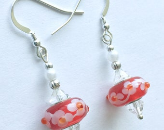 Red and white floral earrings, red flower glass drop earrings, Mother's Day gift