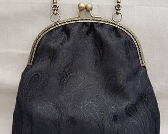 Black Paisley Kiss Clasp Evening/Prom/Occasions Bag/Clutch/Black Evening Bag
