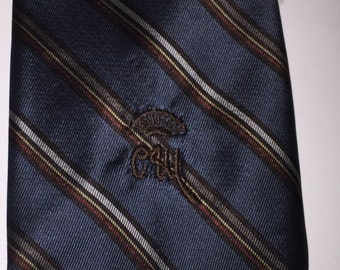 Vintage Countess Mara tie, blue w/ accent stripes maroon/silver//black/grey necktie