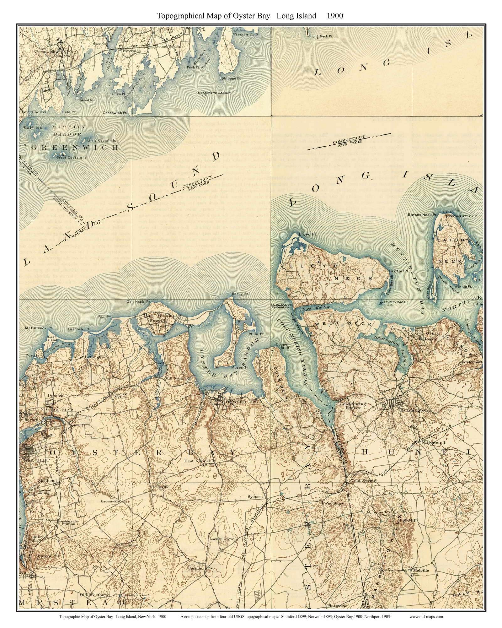 Oyster Bay 1900 Long Island New York Old USGS Topo Map
