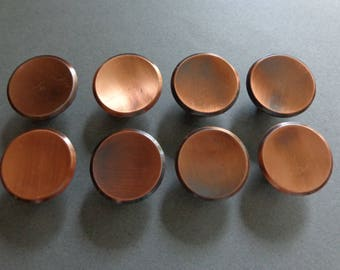 Antique Copper Knobs, 8 Round Cabinet Knobs Dresser Drawer Door Hardware  Concave Top Modern Sleek Design