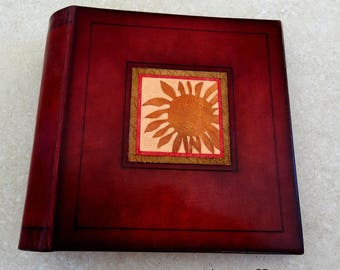 door-CDs leather with inlaid leather sunflower decor