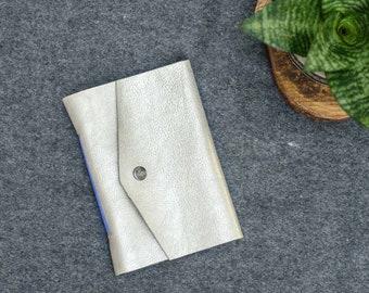 Silver & Navy Blue Leather Pocket Journal