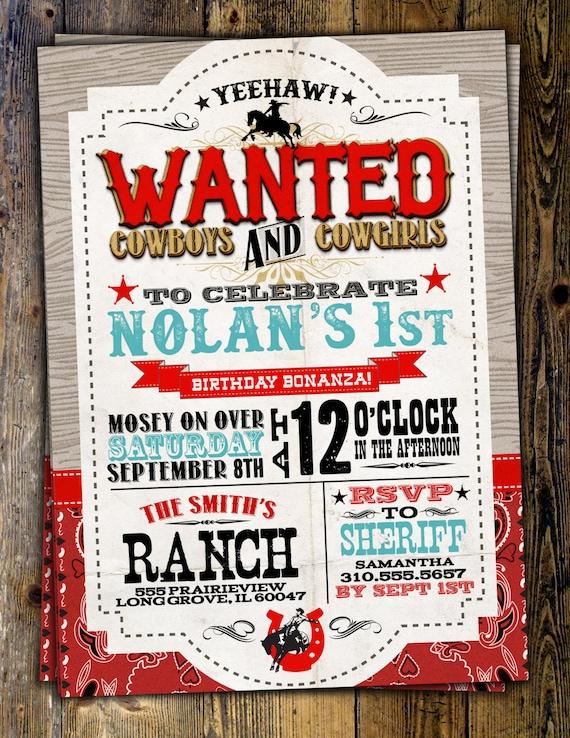 Vintage Cowboy Invitation boy birthday cowgirl rodeo