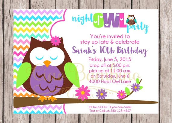 Items similar to PRINTABLE Night Owl Birthday Party Invitation