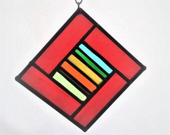 """Red Multicolored Suncatcher 4""""x4"""""""