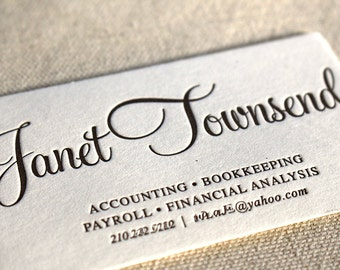 Letterpress Business Cards, Calling Card, Custom, Calligraphy, Photographer, Event Planner, Logo, Script, Simple, Affordable, gold B102