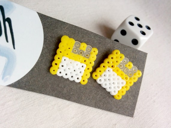 Yellow Geek IT floppy disk shaped stud earrings for computer geeks with retro style made out of Hama Mini Perler beads