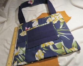 Navy Blue Hawaiian Style Patchbag