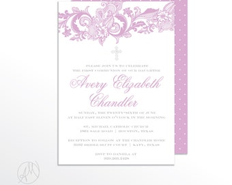Lavender Christening Invitation, Girl Baptism Invitation, Lace Baby Dedication Announcement, Baby Girl Baptism Invitations, First Communion