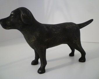 DOOR STOP. Iron Door Stop, Vintage Style Iron LAB Doorstop. Black Labrador Distressed Iron Doorstop. Upcycled Iron Dog Doorstop/Bookends