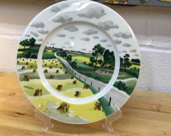 Adolf Dehn vintage china plate farm field scene