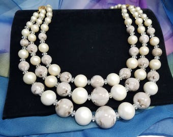 Simply Gorgeous Faux Pearl & Marbleized Beaded Triple Strand Necklace