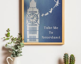 Wall Decor Peter Pan Inspired - Wall Decoration - Take me to Neverland - Christmas Gift You Can Fly Think Happy Thoughts