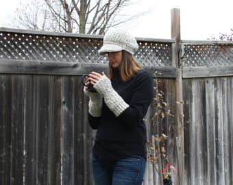 Crochet Hat,Newsboy Cap,Newsgirl Cap,Handmade,Visor Hat,Brim Hat,Beige Hat,Crochet Newsboy Hat,Oatmeal Hat,Holiday Gift,Gift for her