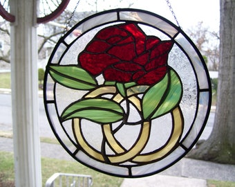 Stained Glass Anniversary Red Rose Sun-catcher