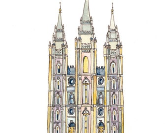 Salt Lake Temple-Watercolor