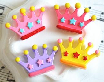 15pcs Mixed color Resin Crown Star Kawaii flat back cabochon