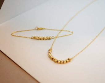 Dainty necklace, Gold jewelry set, Dainty bracelet, Gold necklace, Nuggets jewelry, Necklace and bracelet set, Minimalist necklace