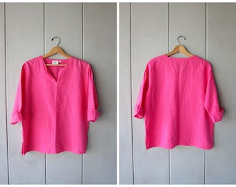 90s Pink Cotton Button Up Blouse Oversized Crop Top Boxy Quarter Sleeve Tee Shirt Minimal Thin Cotton Shirt Vintage Women's Small