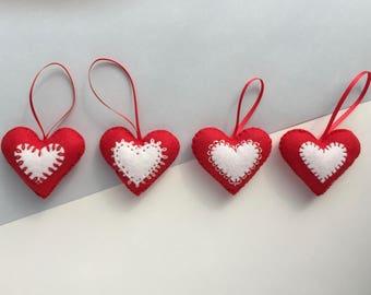 Felt Christmas decorations - set of 4  - Red heart Christmas decoration - Felt Christmas decoration - Red and white heart