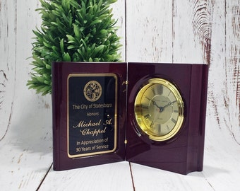 Rosewood Piano Finish Book Clock - Retirement Gift - Office Award - Great for Years of Service - Anniversary Present - Free Laser Engraving