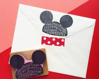 Personnalisé à la main sculptée oreilles Mickey Mouse chapeau Disneyland Disney monde adresse tampon