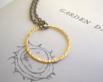 Gold Bubble necklace - simple gold circle with hammered texture - nickel free - modern jewellery
