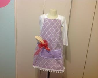 Girls Apron purple and white includes  3 wooden spoons