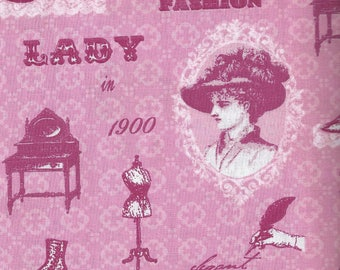 Cotton fabric printed with Pink Lady of Paris - 140x50 cm