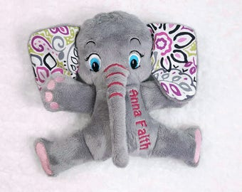 Personalized Elephant Stuffed Animal, Handcrafted Toy Elephant Plushie
