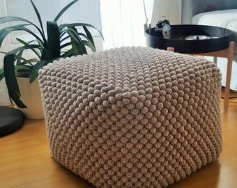 Crochet Stuffed light beige pouf-ottoman / Knit grey ottoman / Crochet footstool